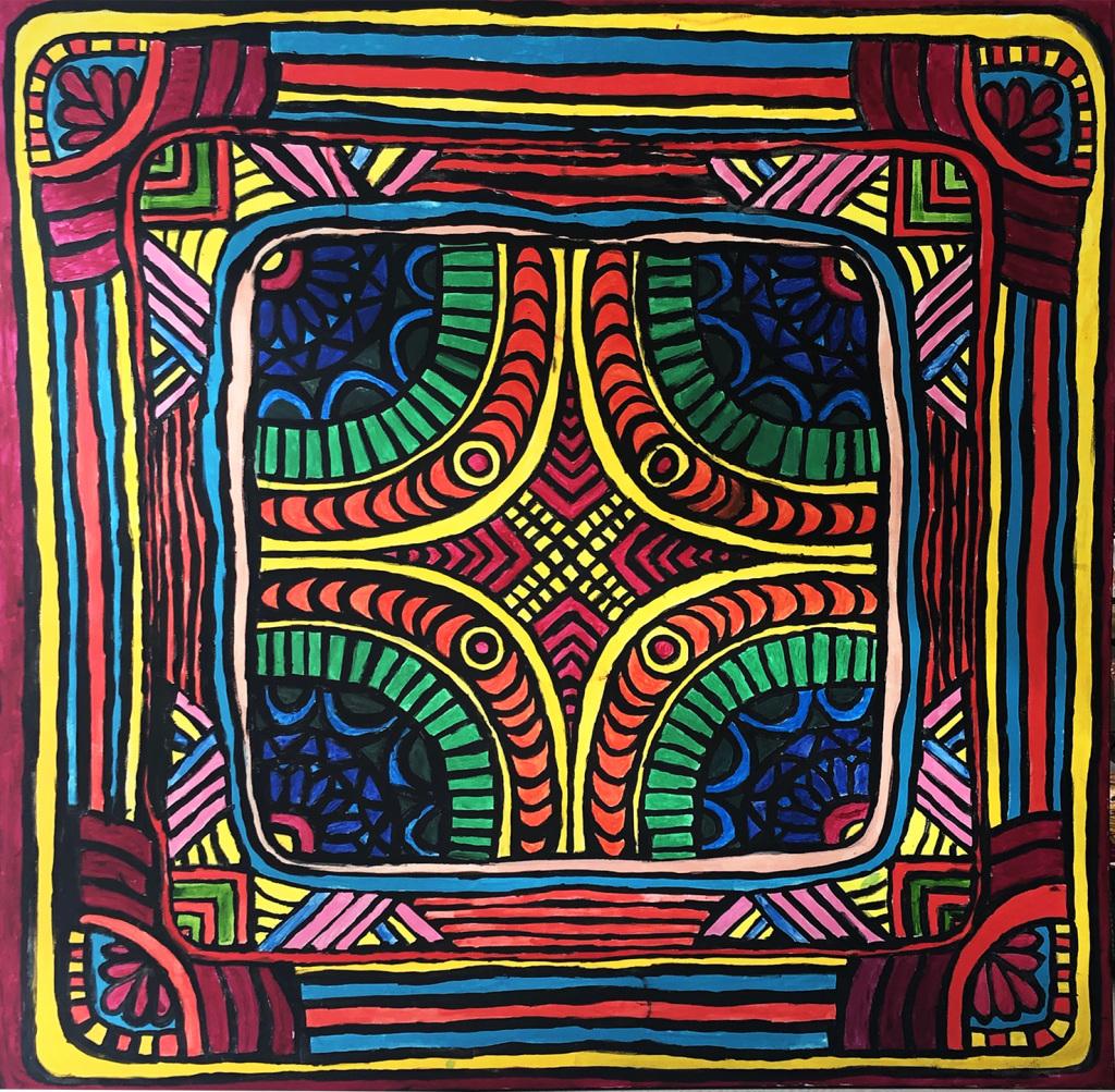 Mandala (akryl na płótnie, 150 x 150 cm)